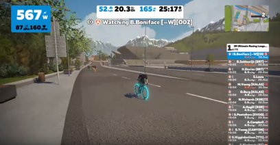 The streaming view we get when Zwift doesn't officially back a race - just the in-game fan view
